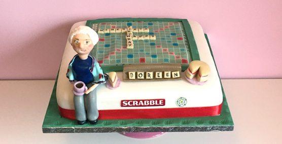 Scrabble board cake